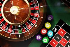 Let`s game begins. 3D illustration of roulette view from above Stock Photography