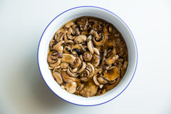 Let`s get this mushrooms and take something delicious out!. A bowl of washed mushroom ready to be cooked stock image