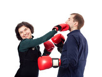Let's get ready to rumble. Couple is ready to fight for fun Stock Photography