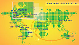 Let's go Brazil 2014. Map Royalty Free Stock Photos