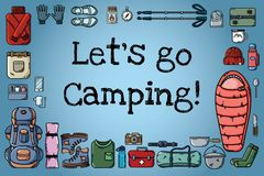 Let`s go camping poster. Set of flat style icons arranged on a banner. Hiking motivation vector illustration