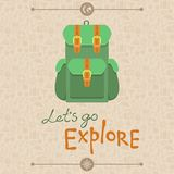 Lets go explore. Vector card in flat retro style - Lets go explore Royalty Free Stock Photos