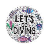 Let`s go giving. Lettering quote with cute fishes and seaweeds stock illustration