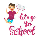 Let's go school. Happy cute boy character joyfully jumps up and holds school notebook with excellent marks Stock Photography