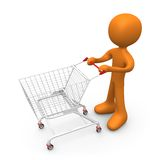 Let's go shopping. Person with a shopping cart Stock Images
