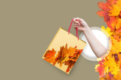 Let`s go shopping in the fall!. Let`s go shopping in the fall design concept Stock Photography