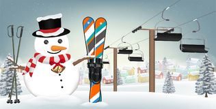 Let`s go skiing with snowman with  ski equipment Stock Photography