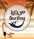 Let's Go Surfing in a Circle Icon on a Seascape Retro Background. With Palm Trees and Slippers for Summer Adventures Stock Image