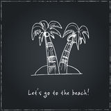 Let's go to the beach.  Motivational travel poster with palm. Stock Images