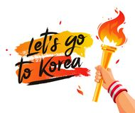 Let`s go to Korea. Torch in the hand Stock Photography
