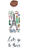 Let's go to Paris. Hand drawn, watercolor - vector Illustration Royalty Free Stock Photo