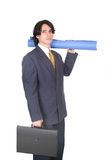 Let´s go to work. Business man holding papers and a briefcase Royalty Free Stock Images