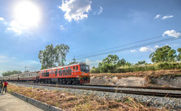 Let's Go. Train Railway Sky Blue Blue-skies Sun Outdoor Sunlight Nature Red Sunny-day Stock Image