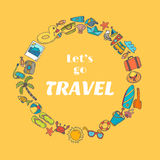 Let's go travel. Hand drawn travel concept. Stock Images