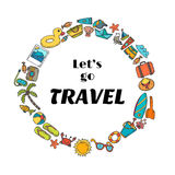 Let's go travel. Hand drawn travel concept. Cute postcard. Adven Stock Images