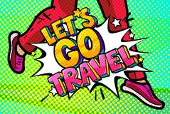 Let s go travel Message in pop art style Royalty Free Stock Images