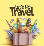 Let`s go travel vector banner design with famous world tourism attractions and travel destinations elements. In a traveling bag. Vector illustration in yellow royalty free illustration