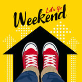 Let`s GO Weekend - Top view Wear Red Sneakers on black arrow and yellow background vector art design Royalty Free Stock Photo