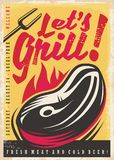 Let`s grill retro poster design. With fresh beef steak on fire. Barbecue vintage vector illustration Royalty Free Stock Photos