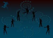 Let's have fun tonight 4. Let's have fun tonight party illustration on blue and black background Stock Photos