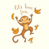 Let's have fun. vector illustration. With funny jumping monkey Royalty Free Stock Image