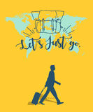 Let`s Just go one man travel with world map background Stock Images