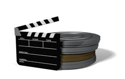 Let's Make a Movie. Clap board and film cans on white Royalty Free Stock Images