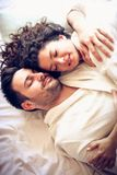 Let`s never leave the bed. royalty free stock images