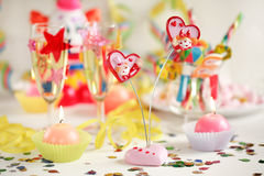 Let's party. Party accessories for New Years Eve, birthday party or carnival Royalty Free Stock Image