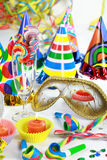 Let's party. Party accessories for New Year Eve, birthday party or carnival Stock Photos