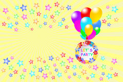 Let`s Party card with stars Royalty Free Stock Photos