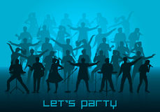 Let`s party concept. Set of silhouettes of musicians, singers and dancers Stock Photos