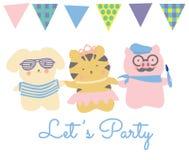 Let`s Party. Cute friends. Stock Photos