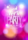 Let`s party, dance all night design. Stock Images