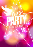 Let`s party design with big star. stock illustration