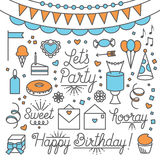 Let`s Party Illustrations and Type. A Collection of party illustrations and type. Easy to edit Stock Photo