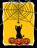 Let's Play. Halloween illustration of a frisky cat sitting on pumpkins, reaching up to play with a spider Royalty Free Stock Photo