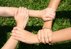 Let's play. Children's hands royalty free stock photo