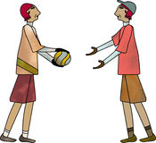 Lets Play Ball. Two figures facing each other ready to work and play together Royalty Free Stock Photos