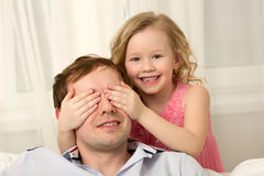 Let's play hide-and-seek, Daddy Royalty Free Stock Image