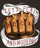 LET'S PLAY ROCK AND MOSHING. Print doodle vector or illustration poster Stock Photo