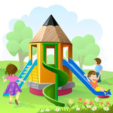 Let's Play And Slide. Kids , have great fun let's play and slide Royalty Free Stock Photo