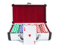 Let's Play Some Poker. A deck of cards in front of a case containing stacks of poker chips isolated on white Stock Photos