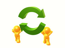 Let's recycle. Yellow  figures holding a recycle arrow sign Royalty Free Stock Image
