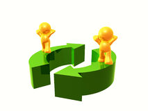 Let's recycle. Yellow  figures standing on recycle arrow sign Royalty Free Stock Photos