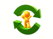 Let's recycle. Yellow  figure standing on recycle arrow sign Stock Images