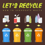 Let's recycle waste concept illustration. Vector flat design colored segregation of recycled waste concept scheme for various colored garbage bins with paper Stock Photos