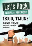 Let's rock festival poster. Vector illustration Stock Images
