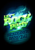 Let`s rock party design, electric plasma headline vector illustration