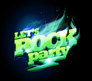 Let`s rock party sign, electric text royalty free illustration